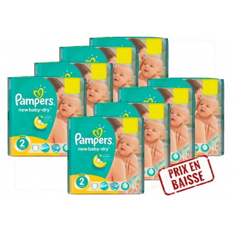 Pack économique 408 Couches Pampers New Baby Dry 2 sur Promo Couches