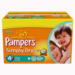 Giga Pack 528 Couches Pampers Simply Dry taille 4+ sur Promo Couches