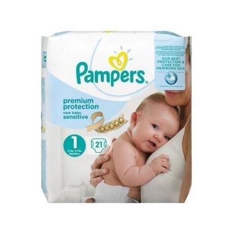 Pack 21 Couches Pampers New Baby Sensitive taille 1 sur Promo Couches