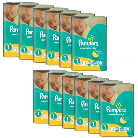Mega Pack 860 Couches Pampers New Baby Dry taille 1 sur Promo Couches