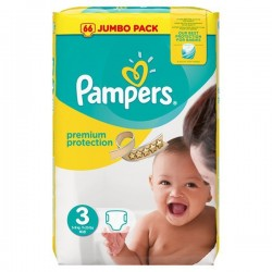 Pack 50 Couches Pampers Premium Protection taille 3 sur Promo Couches