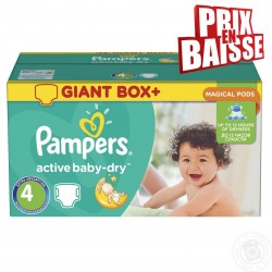 Maxi pack 308 Couches Pampers Active Baby Dry taille 4 sur Promo Couches
