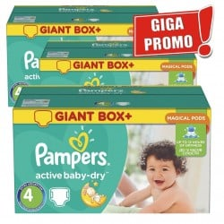 Giga Pack 396 Couches Pampers Active Baby Dry taille 4 sur Promo Couches