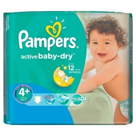 Pack 18 Couches Pampers Active Baby Dry taille 4+ sur Promo Couches