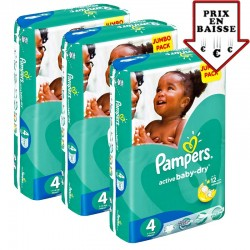 giga pack 588 Couches Pampers Active Baby Dry taille 4 sur Promo Couches