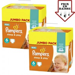 pack Jumeaux 348 Couches Pampers Sleep & Play taille 6 sur Promo Couches