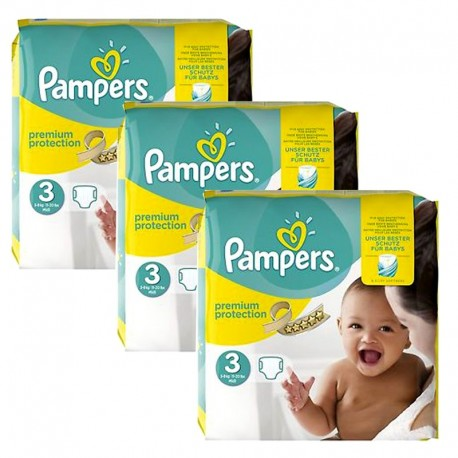 Maxi Mega Pack 240 Couches Pampers Premium Protection - New Baby taille 3 sur Promo Couches