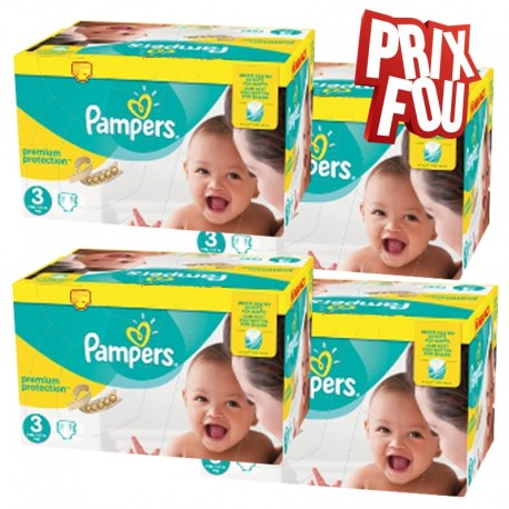 Maxi Giga Pack 650 Couches Pampers Premium Protection - New Baby taille 3 sur Promo Couches