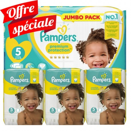 Maxi Giga Pack 340 Couches Pampers Premium Protection - New Baby taille 5 sur Promo Couches