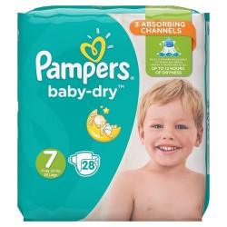 Pack 28 Couches Pampers Baby Dry taille 7 sur Promo Couches