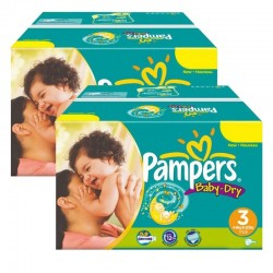 Giga Pack Jumeaux 408 Couches Pampers Baby Dry taille 3