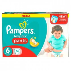 Pack 64 Couches Pampers Baby Dry Pants taille 6+ sur Promo Couches