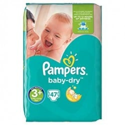 Pack 47 Couches Pampers Baby Dry taille 3+ sur Promo Couches