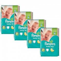 Maxi Giga Pack 188 Couches Pampers Baby Dry taille 3+