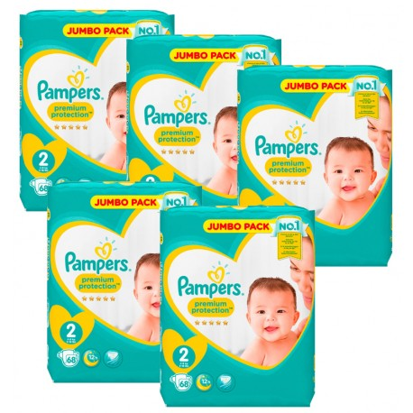 Giga Pack 340 Couches Pampers New Baby - Premium Protection taille 2 sur Promo Couches