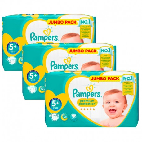 Maxi Giga Pack 135 Couches Pampers New Baby - Premium Protection taille 5+ sur Promo Couches
