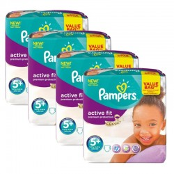 Maxi Pack 128 Couches Pampers Active Fit - Premium Protection taille 5+ sur Promo Couches