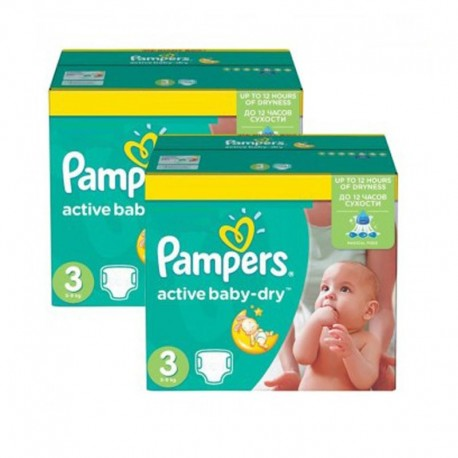 Pack 108 Couches Pampers Active Baby Dry taille 3 sur Promo Couches