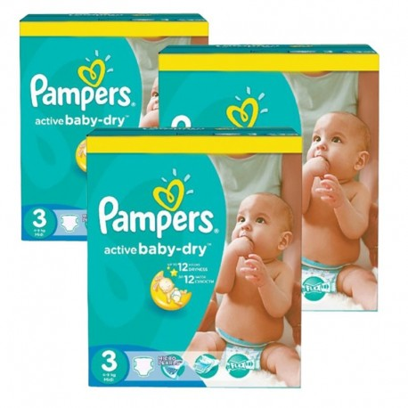 Giga Pack 216 Couches Pampers Active Baby Dry taille 3 sur Promo Couches