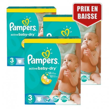 Giga Pack 432 Couches Pampers Active Baby Dry taille 3 sur Promo Couches