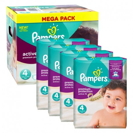 Mega Pack 504 Couches Pampers Active Fit - Premium Protection taille 4 sur Promo Couches