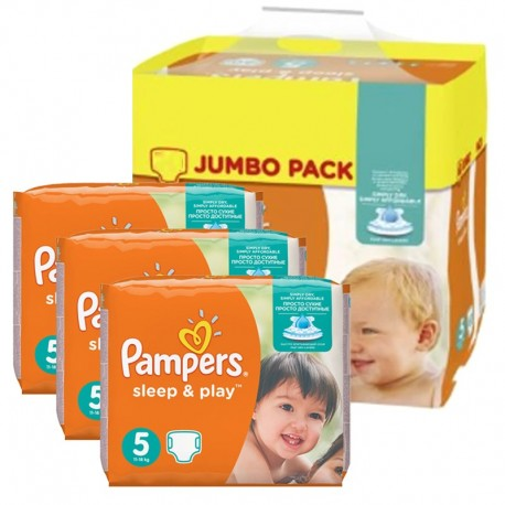 Giga Pack 348 Couches Pampers Sleep & Play taille 5 sur Promo Couches