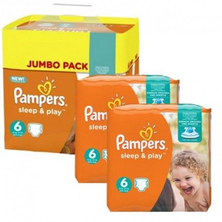 Mega Pack 150 Couches Pampers Sleep & Play taille 6 sur Promo Couches
