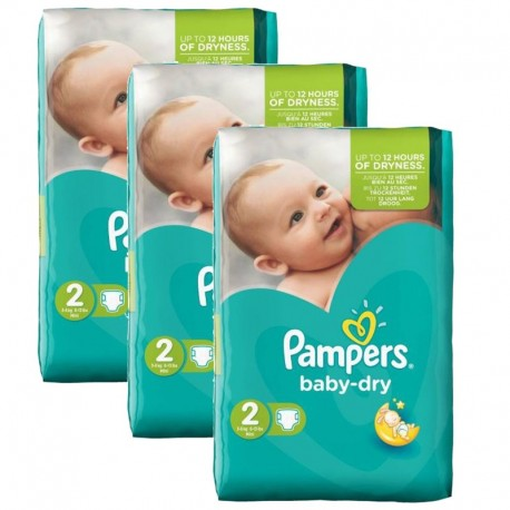 126 Couches Pampers Baby Dry taille 2 sur Promo Couches
