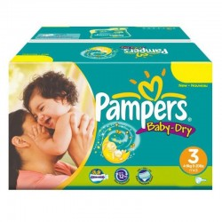 Mega Pack 374 Couches Pampers Baby Dry taille 3
