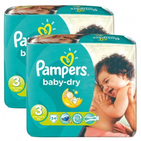 Maxi Pack 170 Couches Pampers Baby Dry taille 3 sur Promo Couches