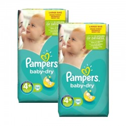 Mega Pack 112 Couches Pampers Baby Dry taille 4+ sur Promo Couches