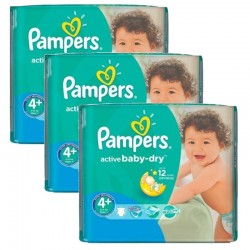 Mega Pack 140 Couches Pampers Active Baby Dry taille 4+ sur Promo Couches
