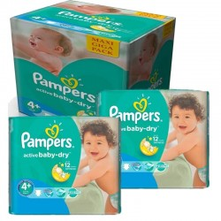 Mega Pack 280 Couches Pampers Active Baby Dry taille 4+ sur Promo Couches
