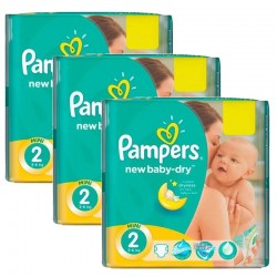 Maxi Pack 129 Couches Pampers New Baby Dry taille 2