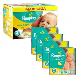 Giga Pack 301 Couches Pampers New Baby Dry taille 2 sur Promo Couches