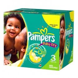 Pack économique de 333 Couches Pampers de la gamme Baby Dry de taille 3+ sur Promo Couches