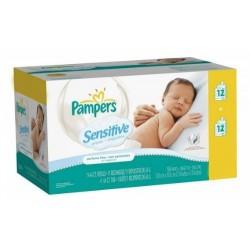 Maxi Pack 288 Lingettes Bébés de la marque Pampers Sensitive - 24 Packs de 12 sur Promo Couches