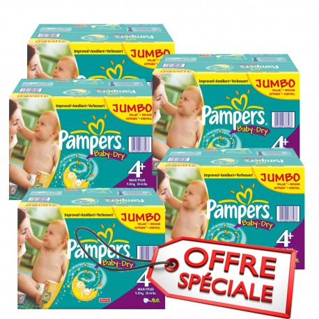 Mega pack 123 Couches Pampers Baby Dry taille 4+ sur Promo Couches