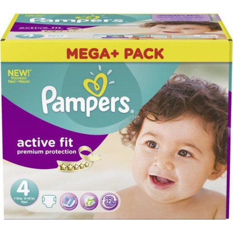 Mega pack 164 Couches Pampers Active Fit Premium Protection taille 4 sur Promo Couches