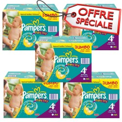 Maxi mega pack 410 Couches Pampers Baby Dry taille 4+ sur Promo Couches