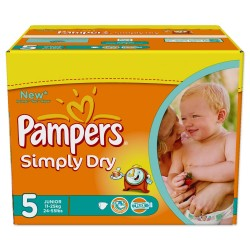 Pack économique 352 Couches de Pampers Simply Dry taille 5 sur Promo Couches