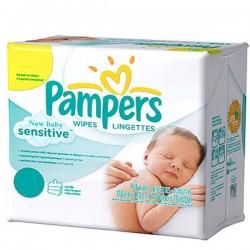 Pack de 528 Lingettes Bébés Pampers New Baby Sensitive - 66 Packs de 8 sur Promo Couches