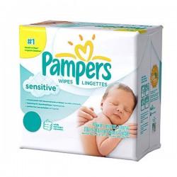 Maxi Pack d'une quantité de 648 Lingettes Bébés de Pampers Sensitive - 12 Packs de 56 sur Promo Couches