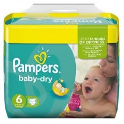 Pack 124 Couches Pampers Baby Dry taille 6
