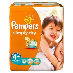 Pack 70 Couches Pampers Simply Dry taille 4+ sur Promo Couches